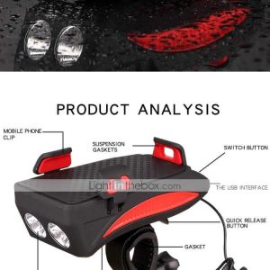 LED Bike Light LED Light Adjustable Stand Bike Horn Light Bicycle Cycling Waterproof Adjustable Anti-Shock LED Li-polymer Rechargeable Lithium-ion Battery 100 lm USB Powered